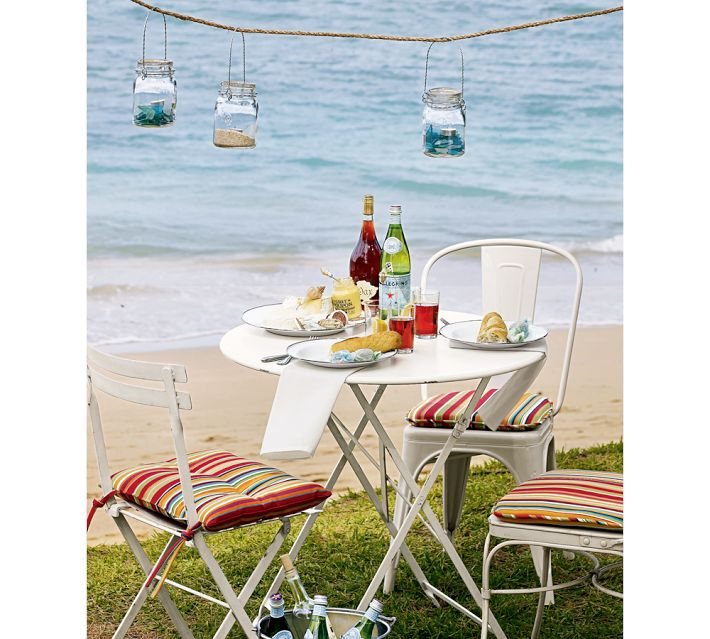 Beach Picnic Setting with lanterns