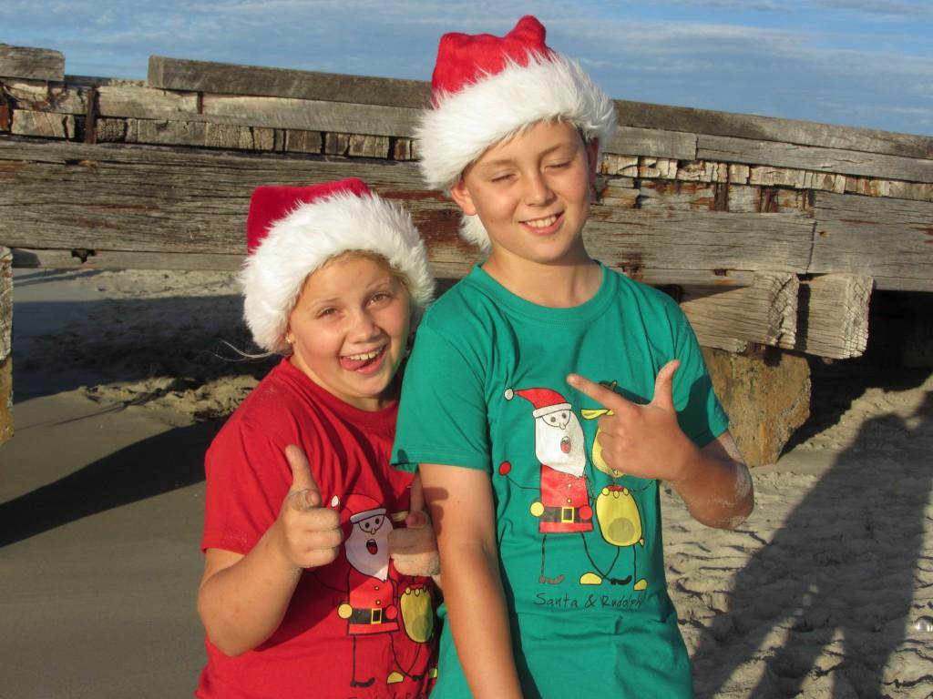 Santa kids at the beach
