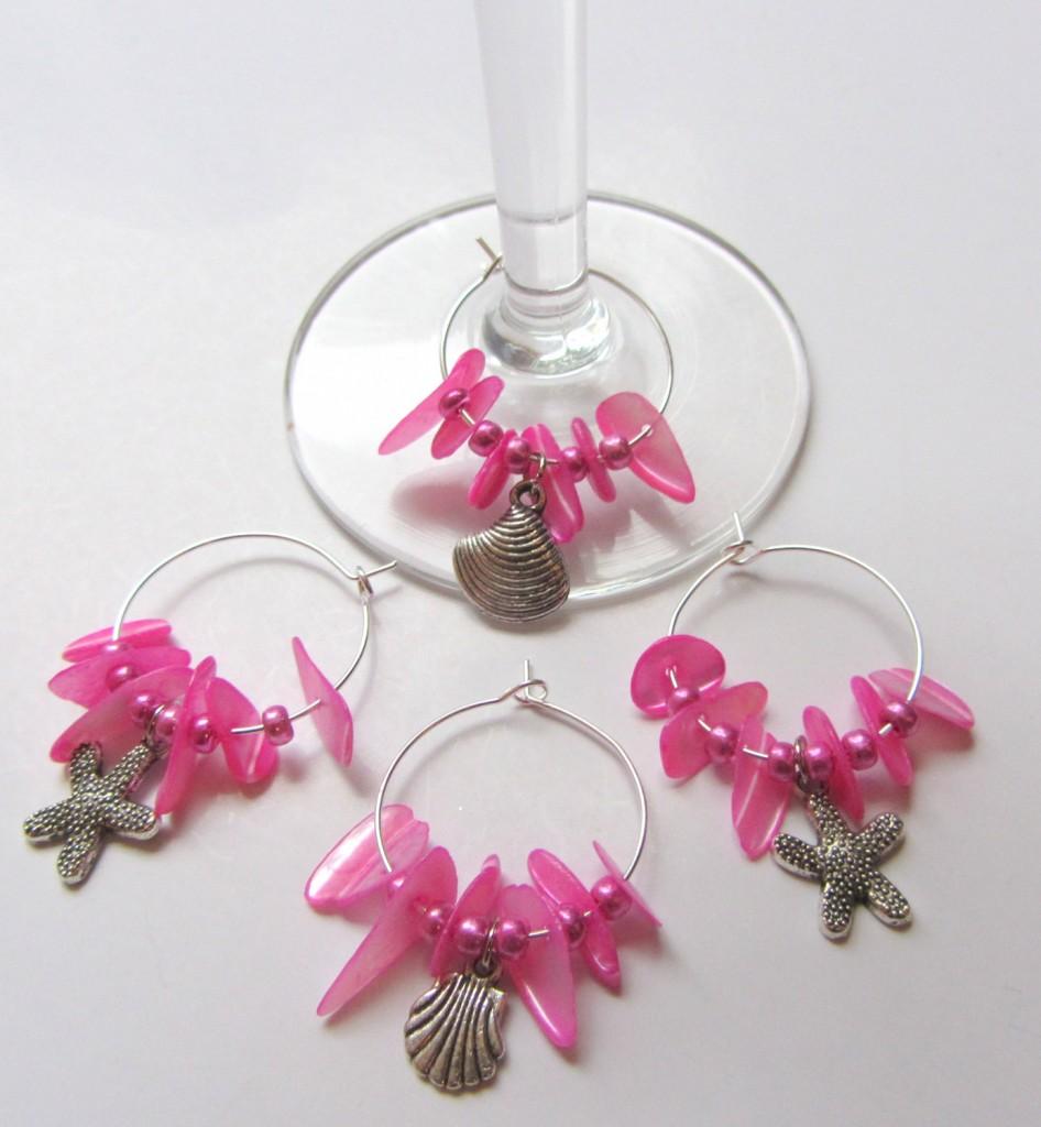 Coastal Decor Pink Wine Charms