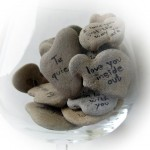 Heart Shaped Beach Stones With Valentines Day Message