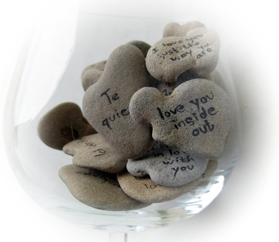 Heart Shaped Beach Stones Sayings