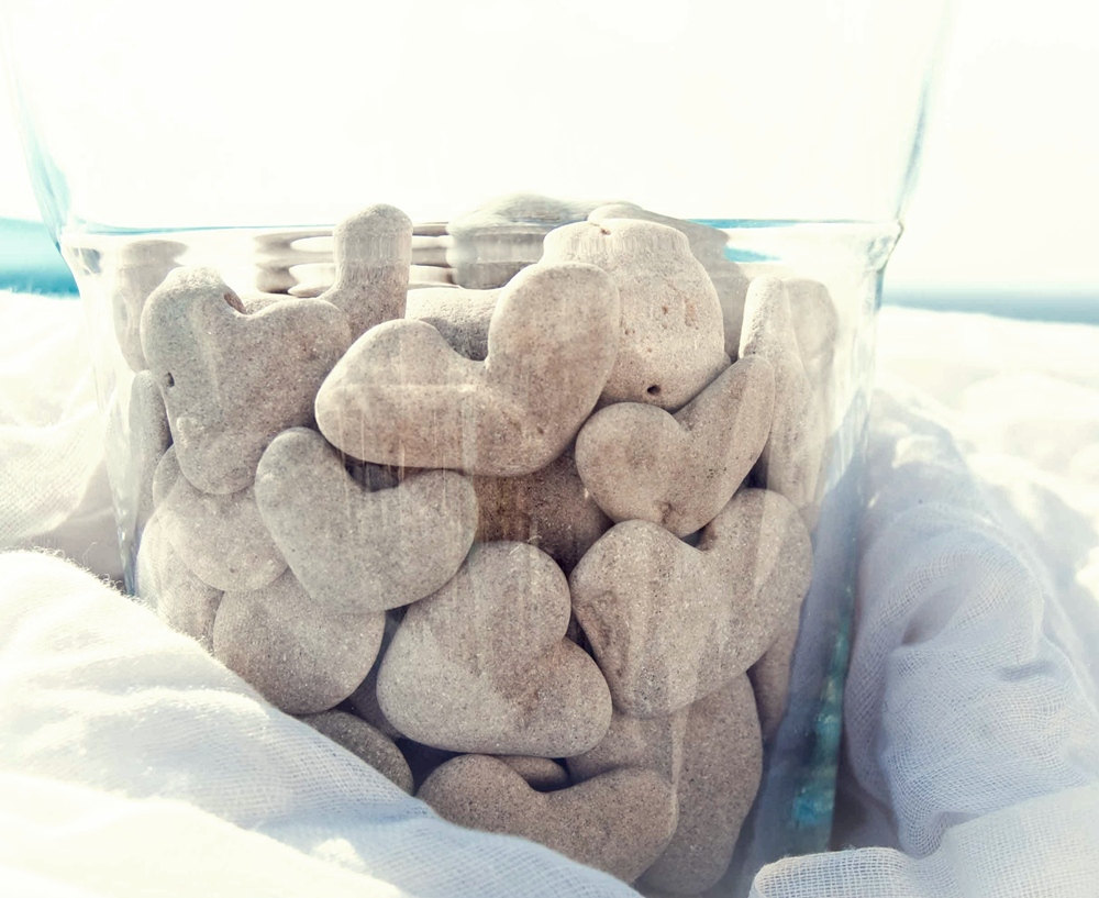 Heart Shaped Beach Stones in Glass