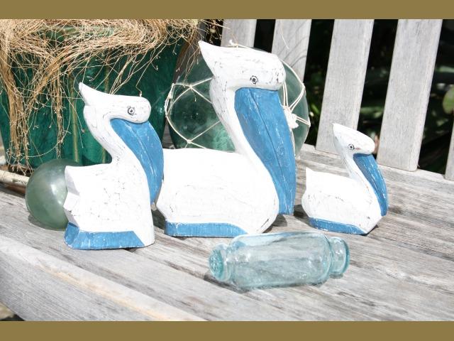 Wooden Pelicans for coastal decor