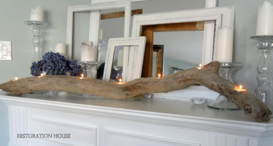 Driftwood Log Candle Holder