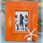 Orange beach decor picture frame