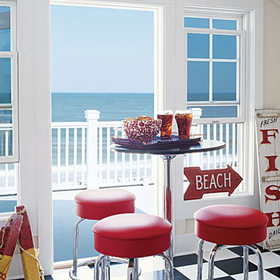 Red and white beach decor