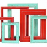 Red and turqois picture frames